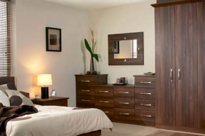 Dark sophisticated walnut finish wardrobe doors